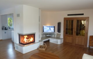 Cheminée Contemporaine Ruegg 720 Angle 90° Habillage Granit Meuble TV