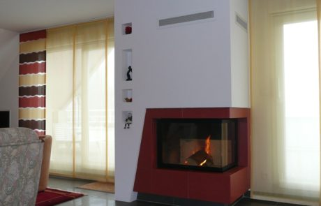 Cheminée Faïences avec foyer Rüegg 720 Angle 90° Faïences Gutbrod