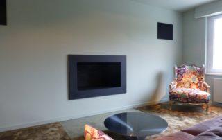 Cheminée Ouverte avec Cadre en Granit Briques Noires