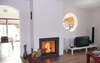 Cheminée Contemporaine avec Foyer BG Fires Phénix 850 Plat 1 Face Cadre Granit
