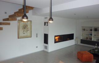 Cheminée Contemporaine Foyer BG Fires Optifire Plat 1 Face Habillage Métal et Niche Bois