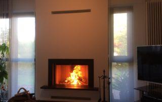 Cheminée Contemporaine avec Foyer BG Fires Phénix 95 Plat 1 Face Tablette Granit