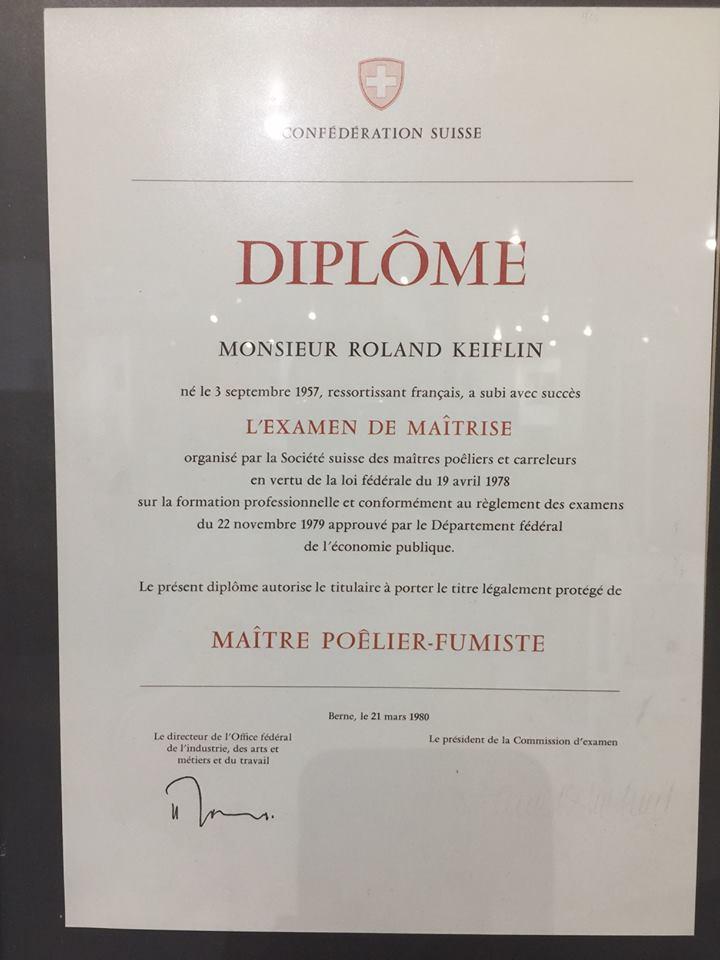 Keiflin et Fils Roland Keiflin Diplôme Maîtrise Maître Poêlier