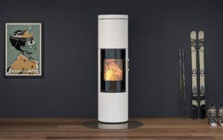 Poêle à bois Attika Juno 166 Céramique Blanche 1 Vitre Blocs Accu (existe en 3 vitre et rotatif)
