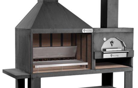 Barbecue Grill Rotisserie Four Vulcano Fire Art Monobloc Noir (existe effet rouille)
