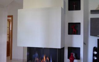 Cheminée Gaz Foyer Faber Matrix 3 Faces en U Tablettes Granit Transformation