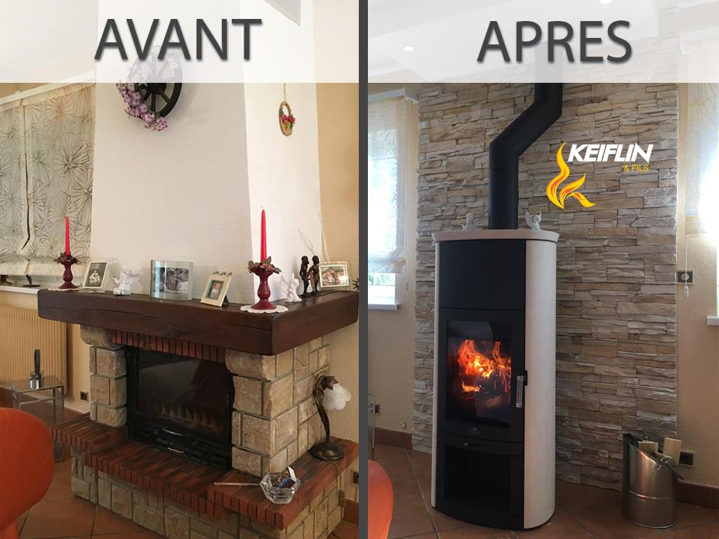 Transformation Avant-Après Keiflin et Fils Cheminée > Poêle Plaquettes