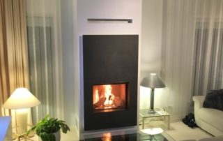 Cheminée 1 Face Foyer Plat BG Fires Phénix avec façade Céramique