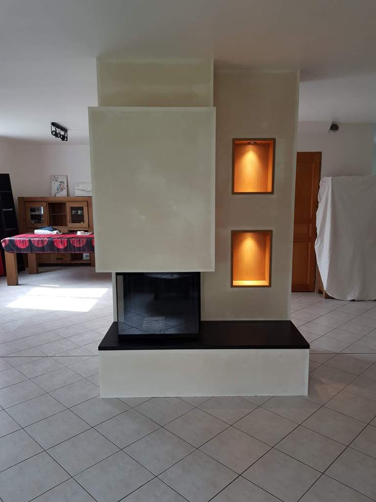 Cheminée 3 Face Foyer Ruegg R3 68x55 Tablette Granit Niches Bois